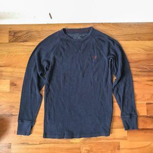 American Eagle Navy Thermal Shirt Vintage Fit Blue